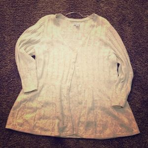 Oatmeal colored 3/4 sleeve sweater button up